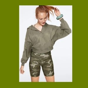 VS PINK Slouchy Pullover/Camo Bike Shorts Set